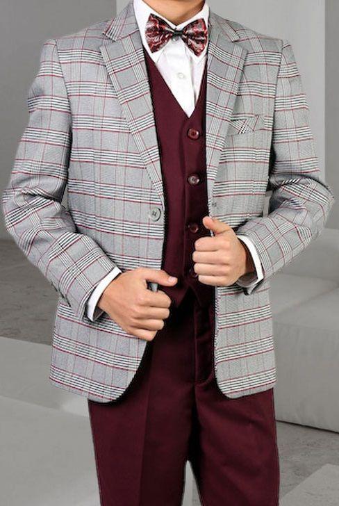 Statement Boy's 3 Piece Suit - Stylish Plaid