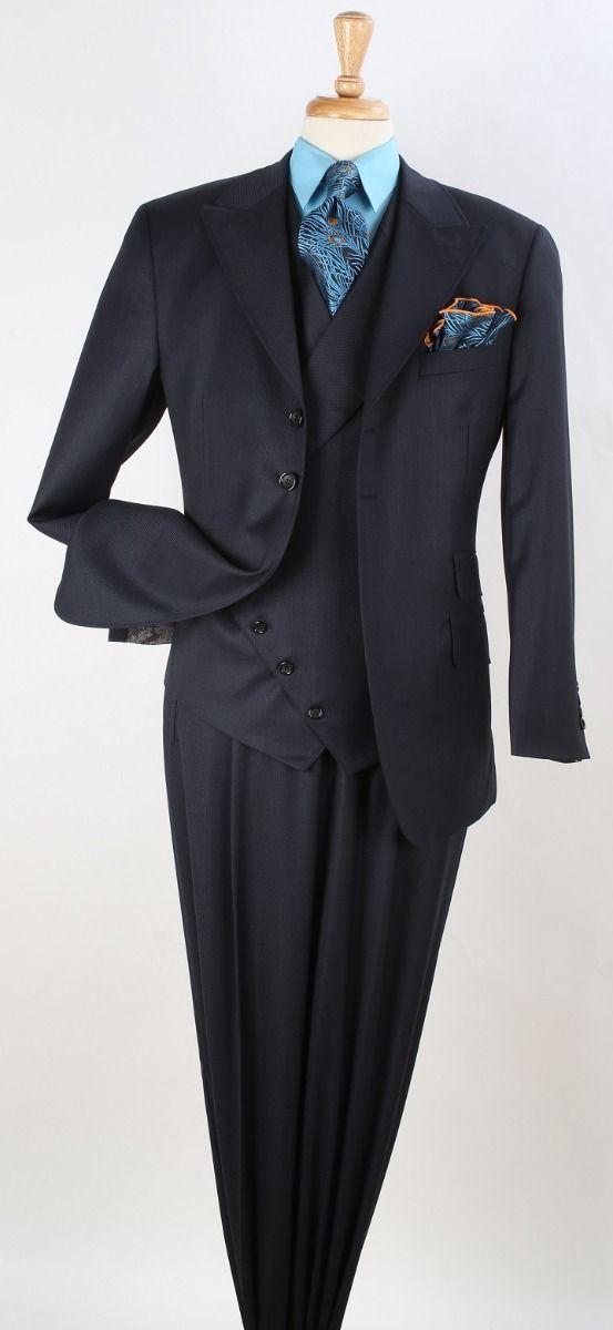 Apollo King Men's 3pc 100% Wool Fashion Suit - Stylish Slanted Vest