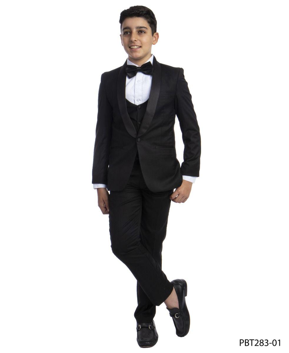 Perry Ellis Boy's 5 Piece Suit with Shirt & Tie - Black U Cut Vest