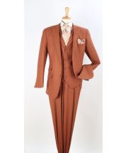 Apollo King Men's 3pc 100% Wool Suit - Fashion Peak Lapel