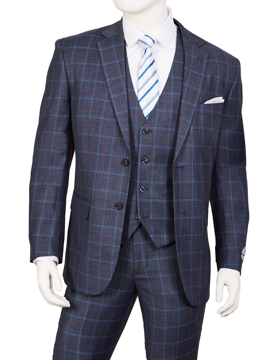 Vittorio St Angelo Men's Outlet 3 Piece Executive Suit - Stylish Windowpane