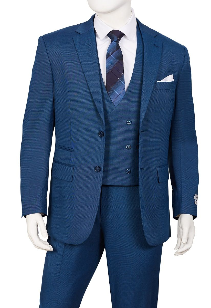 Vittorio St Angelo Men's Outlet 3 Piece Suit - Double Breasted Vest