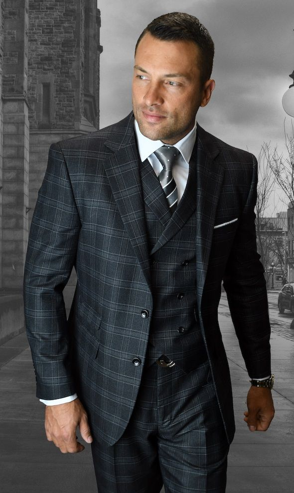 Statement Men's 3 Piece Wool Outlet Suit - Windowpane Check