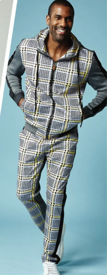 Stacy Adam's Men's 2 Piece Athletic Walking Suit - Dotted Checker
