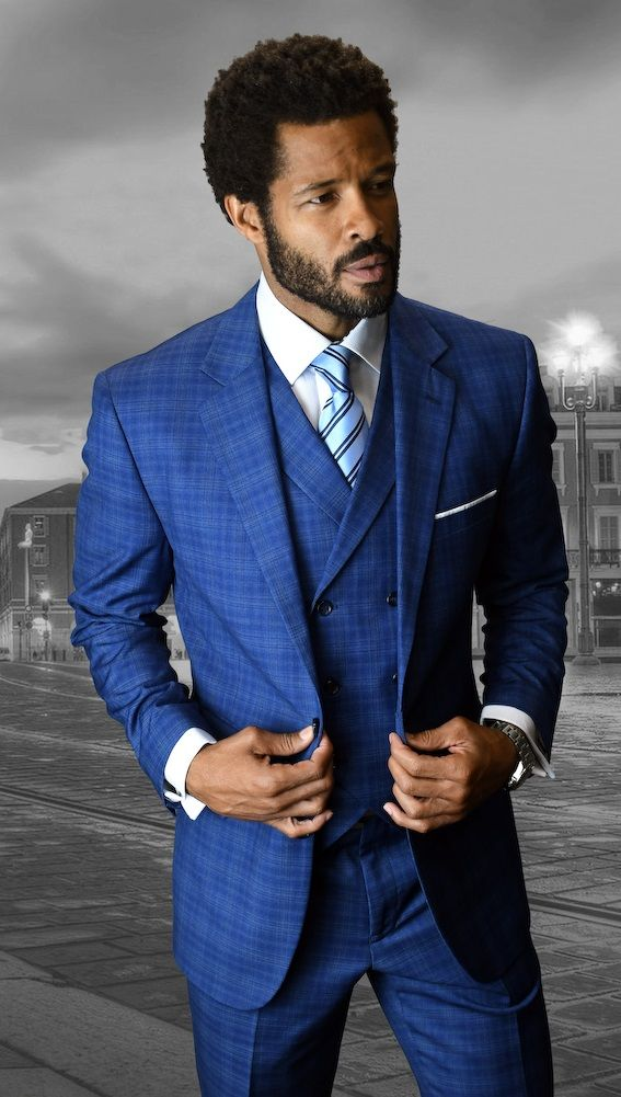 Statement Men's 3 Piece Wool Outlet Suit - Stylish Check