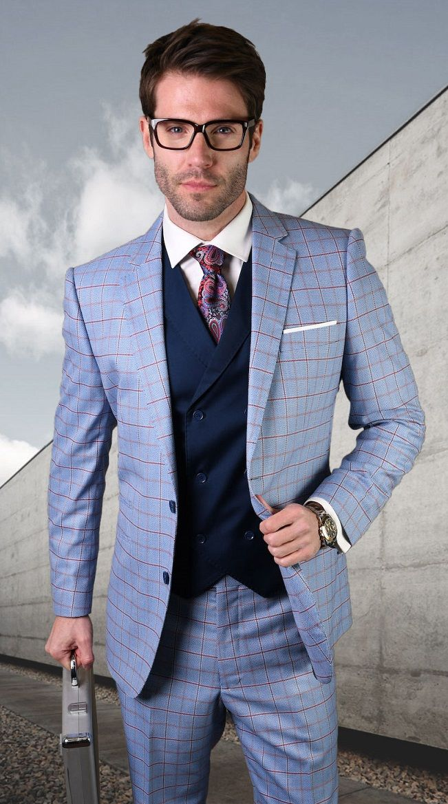 Statement Men's Outlet 3 Piece 100% Wool Fashion Suit - Windowpane Plaid Style