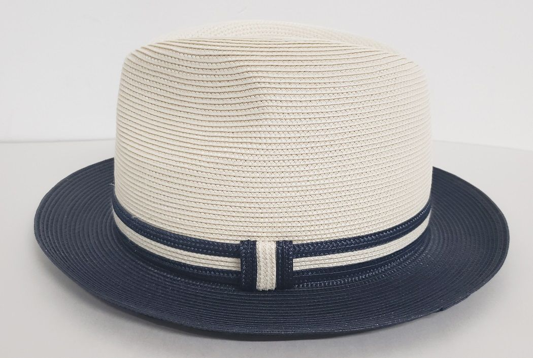Capas Men's Fedora Style Straw Hat - Pinch Front Two Tone
