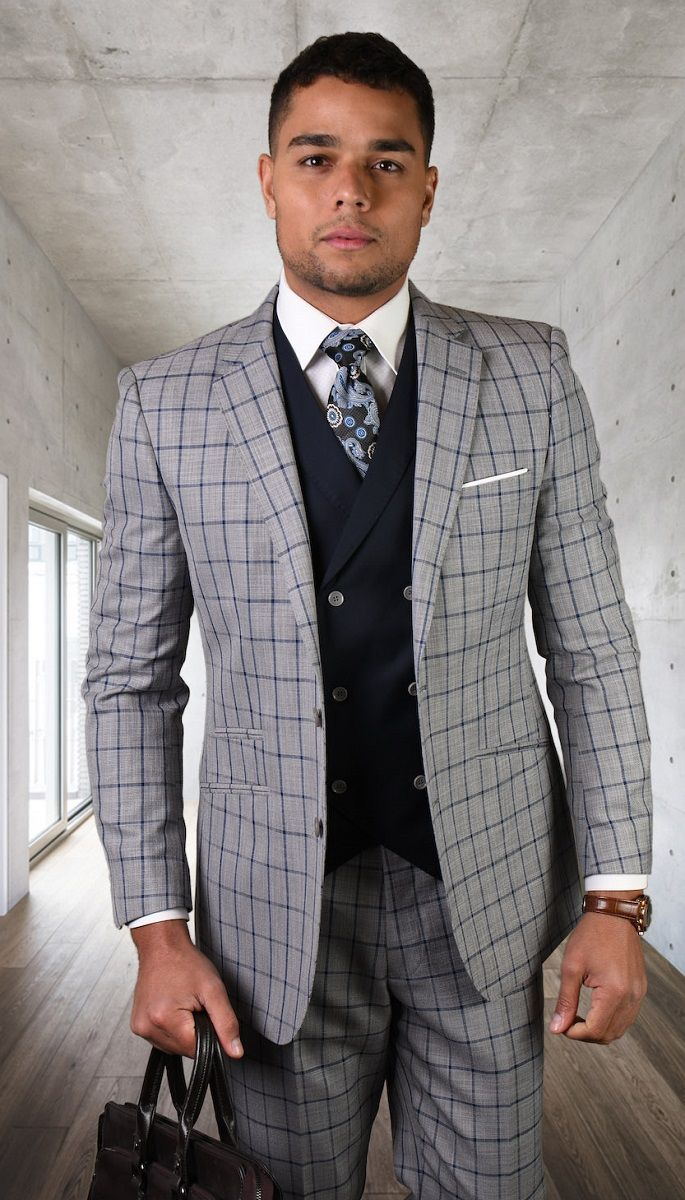 Statement Men's 3 Piece 100% Wool Fashion Suit - Sharp Check