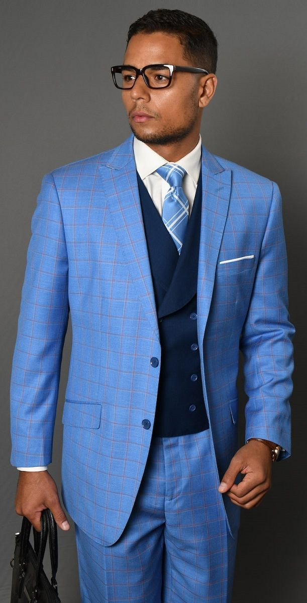 Statement Men's 3 Piece 100% Wool Fashion Outlet Suit - Bright Checkerboard