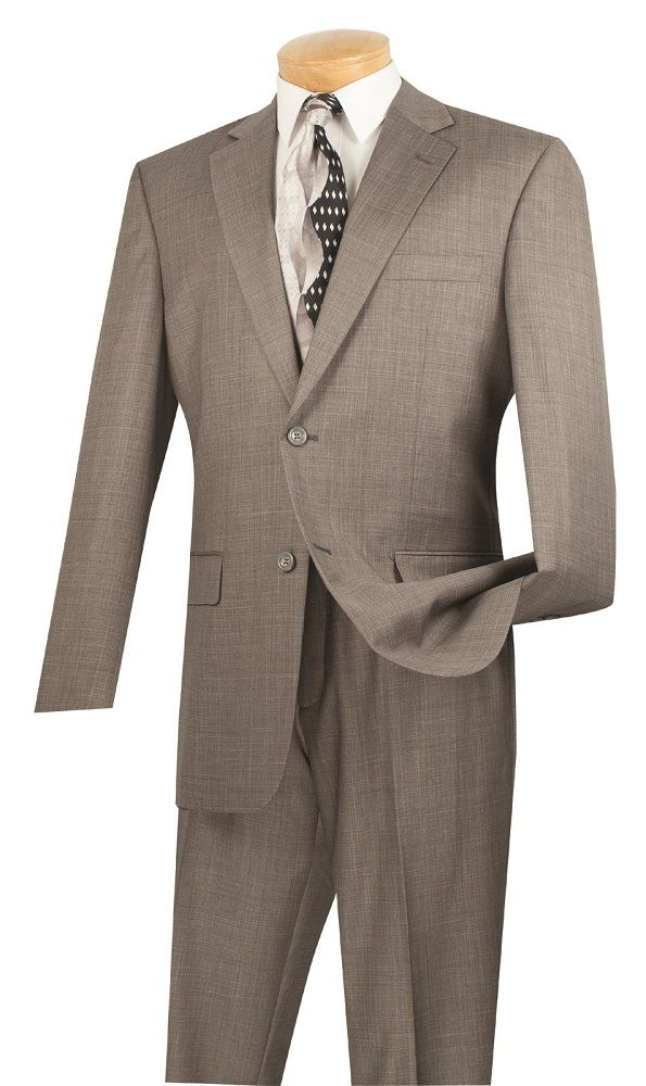 Vinci Men's Outlet 2 Piece Extra Long Executive Suit - Basket Weave Fabric