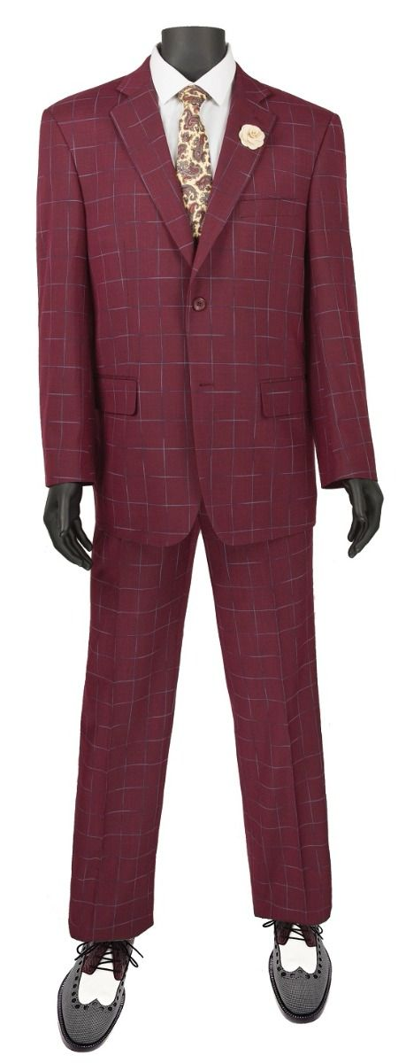 Vinci Men's 2 Piece Classic Executive Suit - Windowpane Style