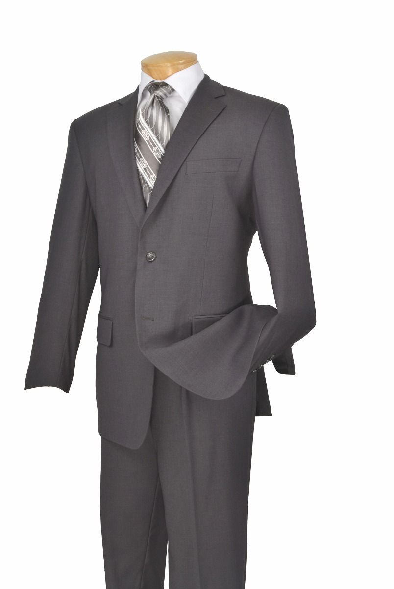 Vinci Men's 2 Piece Wool Feel Outlet Executive Suit - Pure Solid
