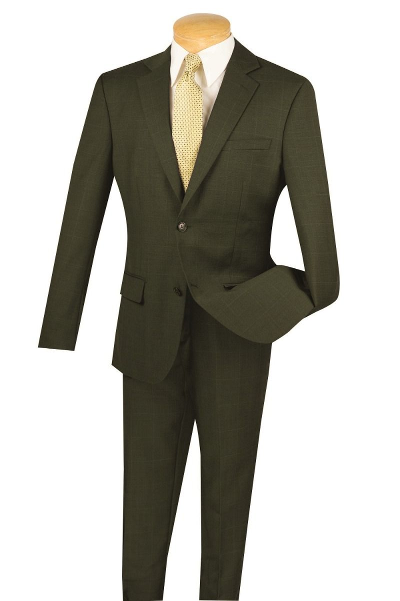 Vinci Men's 2 Piece 100% Wool Suit - Slim Fit Windowpane
