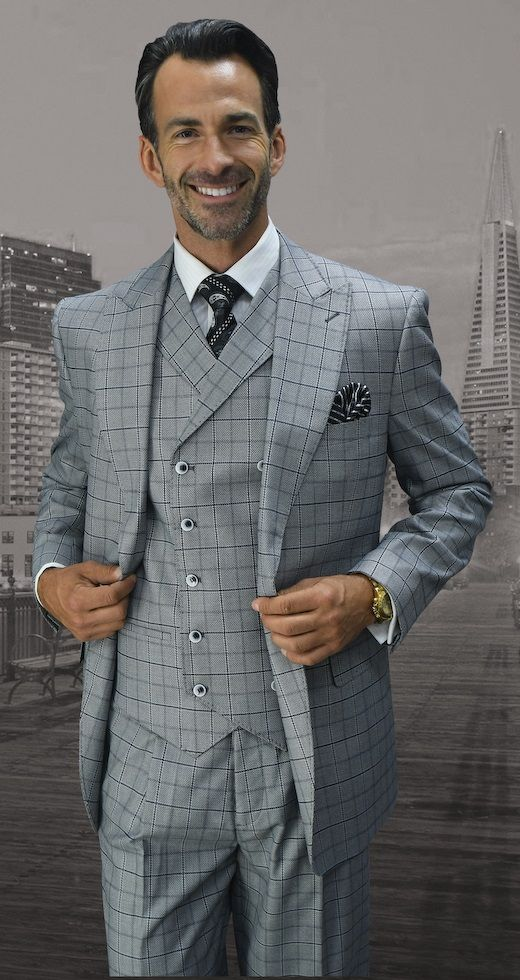 Statement Men's 3pc Wool Outlet Suit -  Thin Windowpane Design