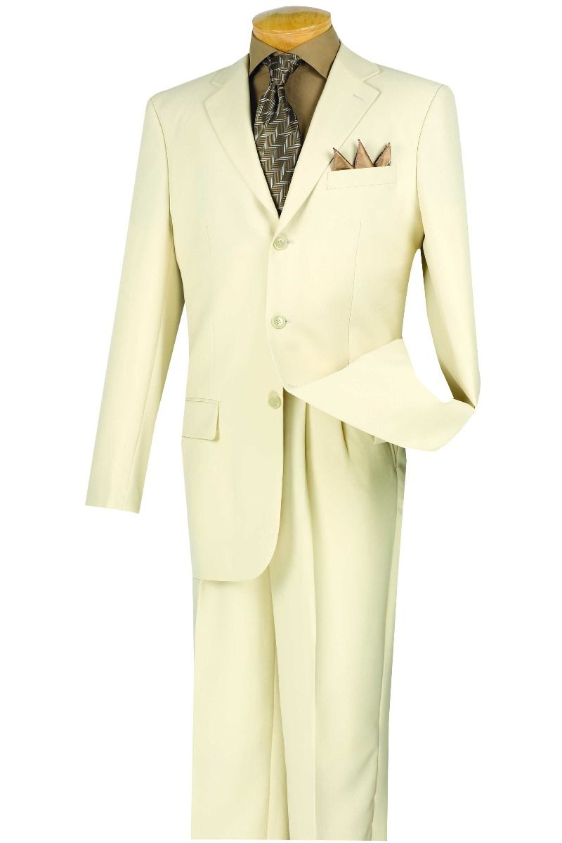 Vinci Men's 2 Piece Poplin Outlet Suit - 3 Button Jacket