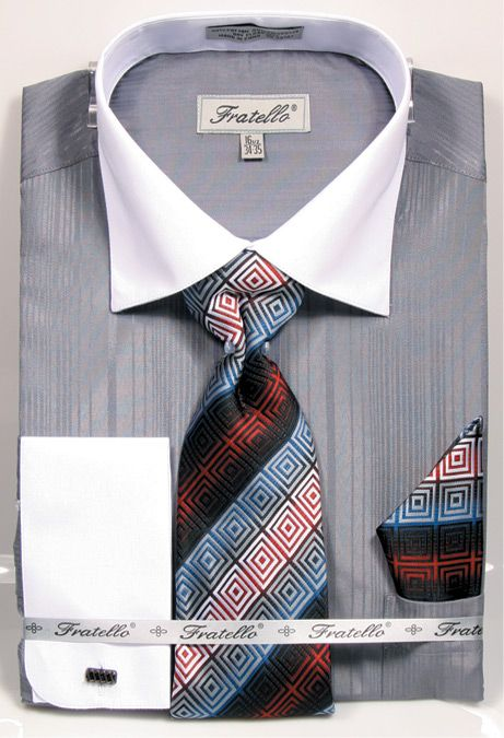 Fratello Men's French Cuff Dress Shirt Set - Textured Two Tone