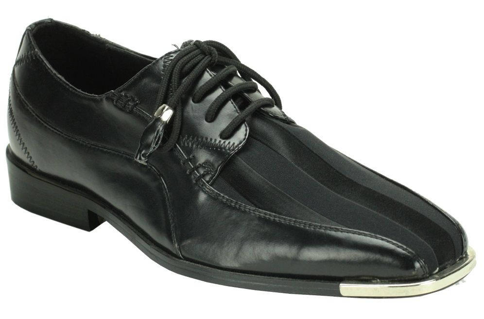 Roberto Chillini Men's Striped Satin Dress Shoes - Silver Tip