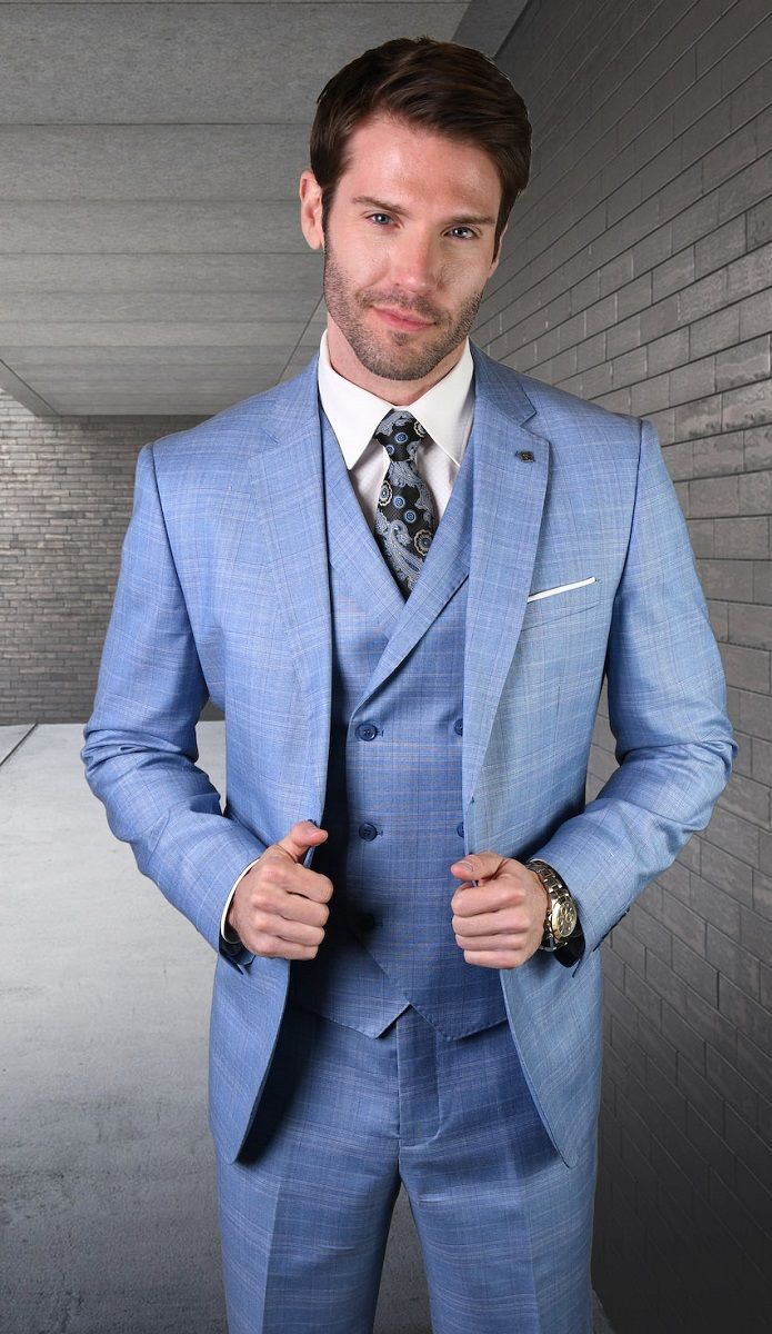 Statement Men's Outlet 3 Piece Wool Fashion Suit - Soft Textured Pattern