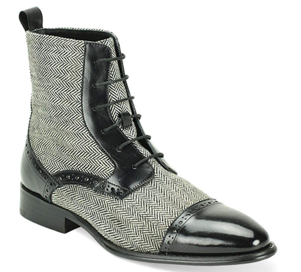 Giovanni Men's Leather Outlet Dress Boot - Wool Tweed