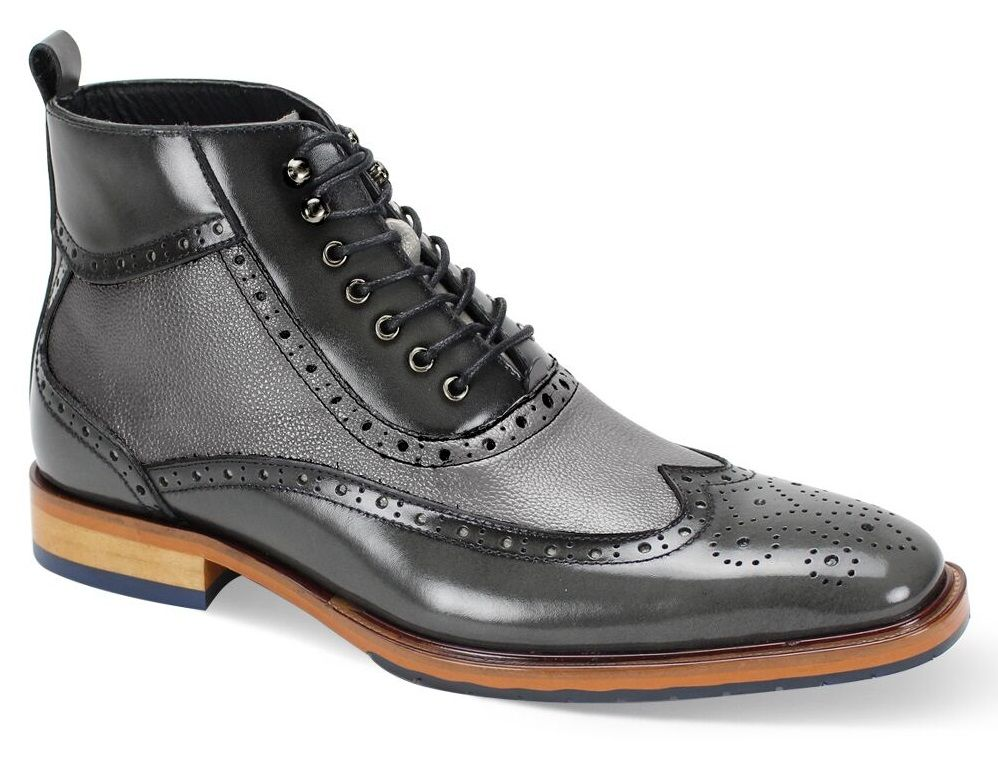 Giorgio Venturi Men's Leather Outlet Dress Boot - Perforated with Texture