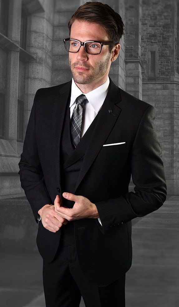 Statement Men's 3 Piece 100% Wool Outlet Suit - Textured Solid
