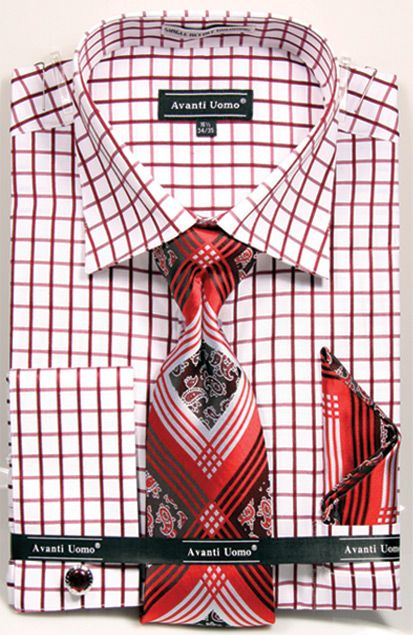 Avanti Uomo Men's French Cuff Dress Shirt Set - Windowpane