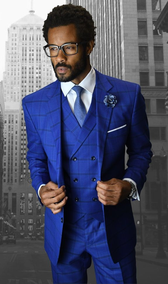 Statement Men's 3 Piece Wool Outlet Suit - Fashion Windowpane