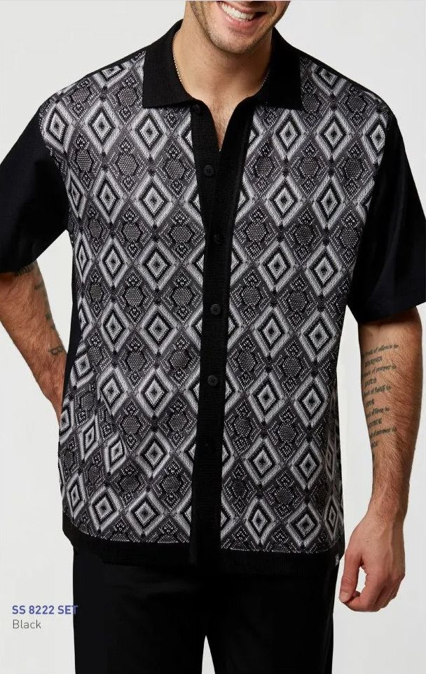 Silversilk Men's 2 Piece Short Sleeve Walking Suit - Layered Diamond