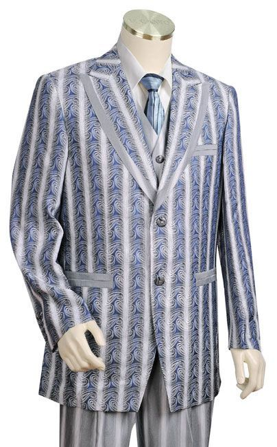 Canto Men's Outlet 3 Piece Wool Feel Fashion Suit - Printed Jacket