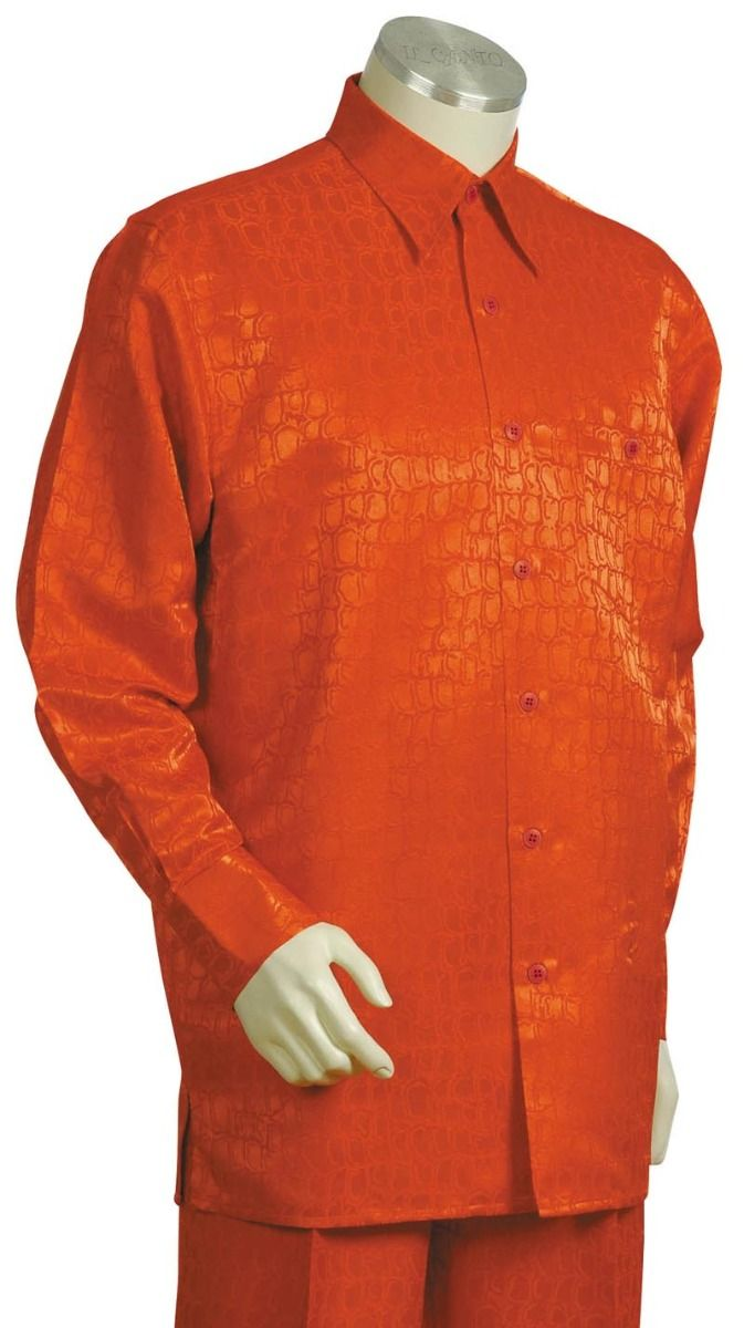 Canto Men's 2 Piece Long Sleeve Outlet Walking Suit - Snakeskin Effect