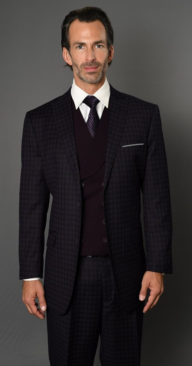 Statement Men's 3 Piece 100% Wool Fashion Suit - Bold Mini Check