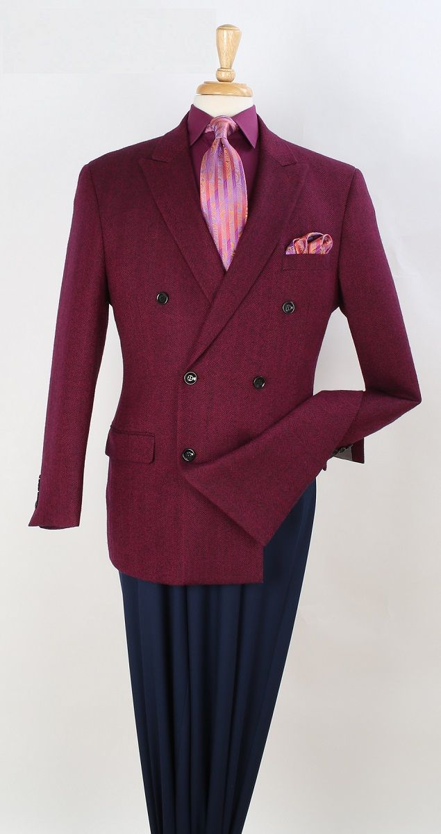 Apollo King Men's 100% Wool Sport Coat - Double Breasted