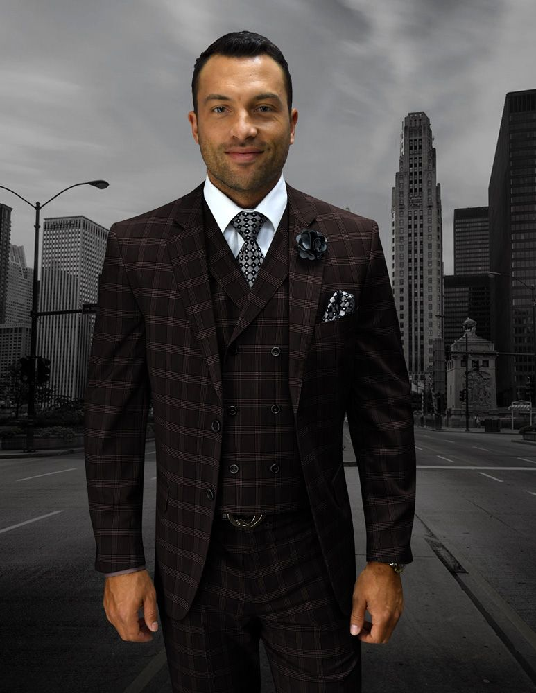 Statement Men's Wool Fashion Suit - Plaid Windowpane