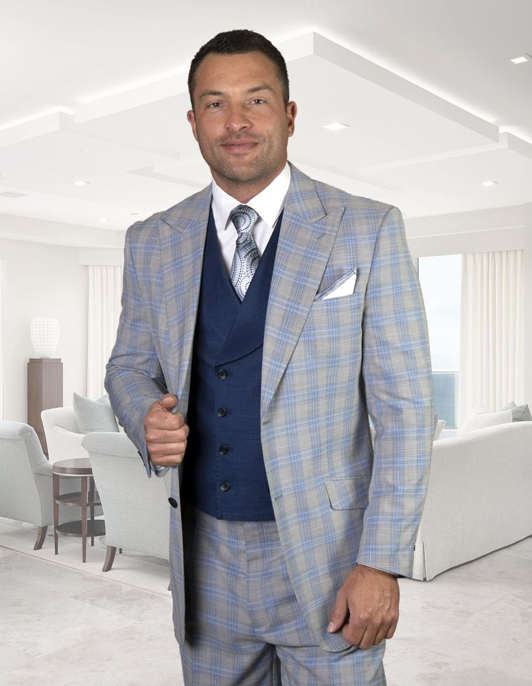 Statement Men's 100% Wool 3 Piece Suit - Fashion Plaid