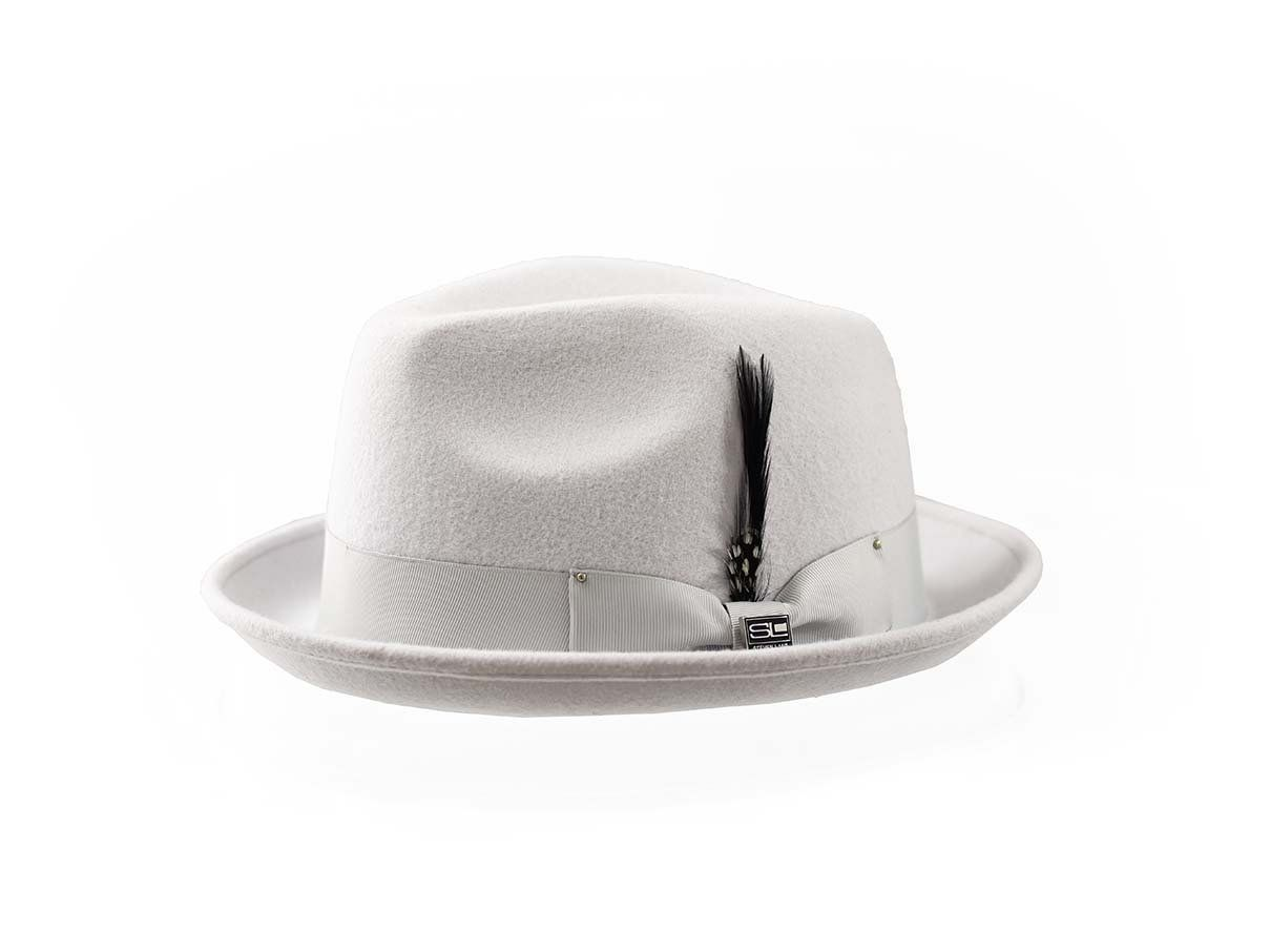 Steven Land Men's 100% Wool Fedora Hat - Stylish Two Tone