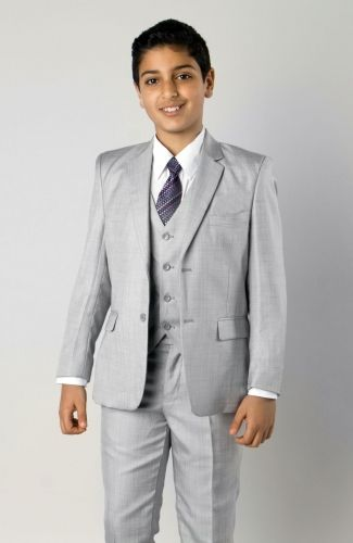 Tazio Boy's 5 Piece Outlet Suit in Solid Colors - Vested w/Shirt and Tie