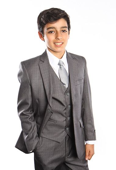 Tazio Boy's 5 Piece Suit with Shirt & Tie - Checkered Plaid