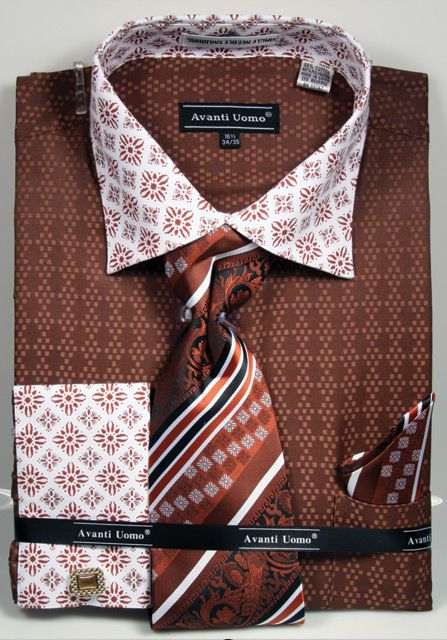 Avanti Uomo Men's Outlet French Cuff Dress Shirt Set - Varied Patterns
