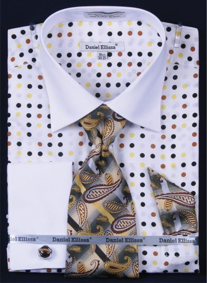 Daniel Ellissa Men's Outlet French Cuff Dress Shirt Set - Multi Polka Dot