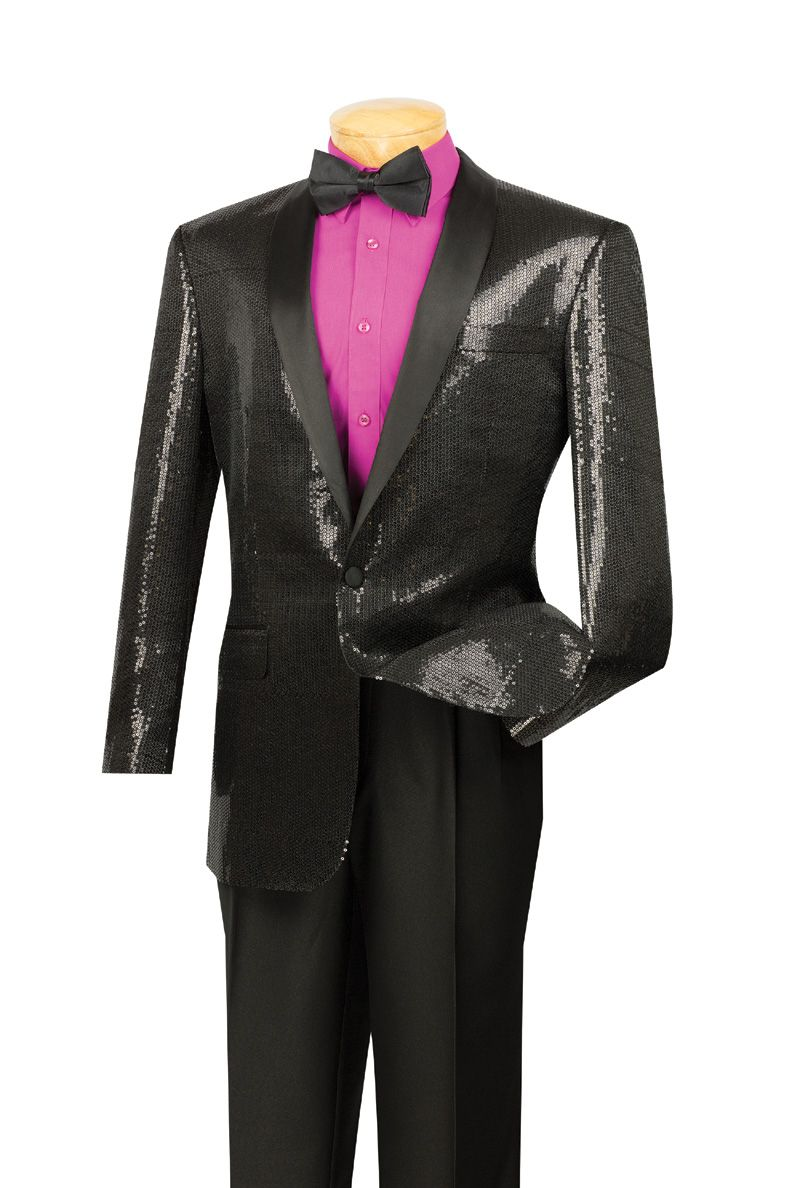 Vinci Men's Slim Outlet Sport Coat - Sequins and Shawl Collar