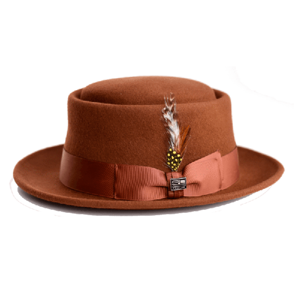 Steven Land Men's 100% Wool Pork Pie Hat - Tone on Tone