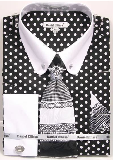 Daniel Ellissa Men's Outlet French Cuff Shirt Set - Polka Dot w/ Collar Bar