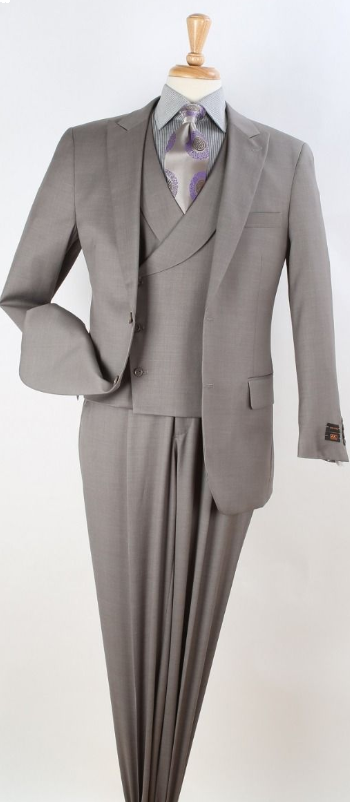 Apollo King Men's Outlet 3pc 100% Wool Fashion Suit - Modern Business
