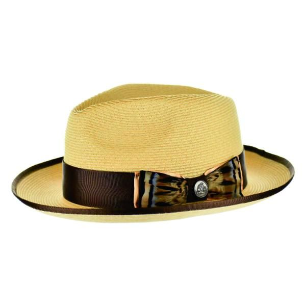 Steven Land Men's Straw Fedora Hat - Exotic Feather