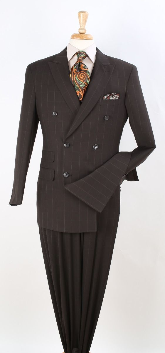 Royal Diamond Men's Outlet 3pc Double Breasted Suit - Classic Windowpane