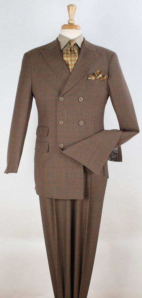 Apollo King Men's 3pc Double Breasted Suit -  Soft 100% Wool