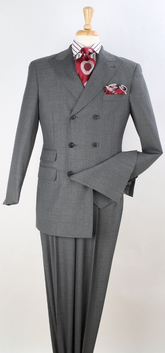 Apollo King Men's 3pc Double Breasted Suit -  Solid Colors