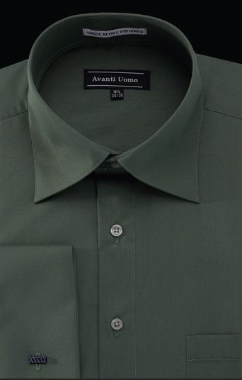 Avanti Uomo Men's Outlet French Cuff Dress Shirt - Wrinkle Free Fabric