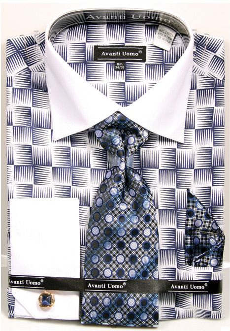 Avanti Uomo Men's Outlet French Cuff Shirt Set - Exotic Checkerboard