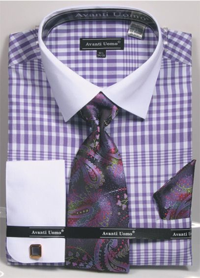 Avanti Uomo Men's French Cuff Shirt Set - Plaid Pattern